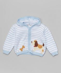 Look at this #zulilyfind! Victoria Kids Layette Blue Stripe Dog Hooded Cardigan - Infant by Victoria Kids Layette #zulilyfinds