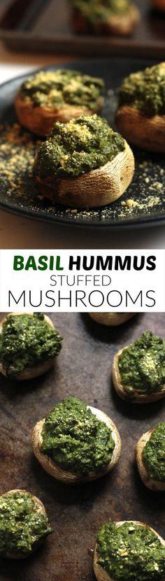 Vegan Basil Hummus Stuffed Mushrooms...the perfect holiday app!