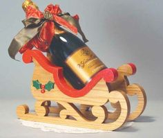 19-w2910 - Sleigh Wine Bottle Holder Scroll Saw Pattern - Woodworkersworkshop®…
