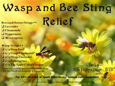 Wasp and Bee Sting Relief from Oh Happy Daze www.onedoterracommunity.com https://www.facebook.com/#!/OneDoterraCommunity
