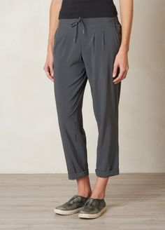 The Uptown Pant is a versatile piece ready for all-purpose performance. Stretch fabric is quick drying, and an elastic waistband with an adjustable drawcord keeps the pant secure for the perfect travel outfit. Head to prAna.com for more sporty-chic sustainable style.