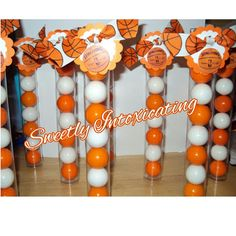 12 Basketball Themed Gumball Favor Tubes with White and Orange