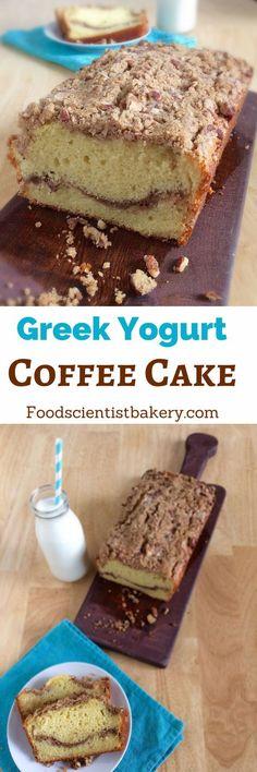 Greek Yogurt Coffee Cake- moist, tender cake with a streusel ripple ...