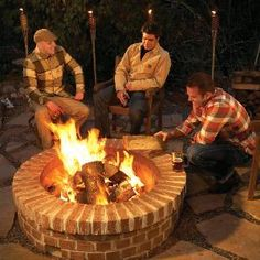 Brick fire pit.....coming to my backyard soon :-) Fire Pit With Bricks, Brick Fire Pits, Outdoor Projects, Backyard Projects, Outdoor Ideas, Home Projects, Outdoor Decor, Backyard Ideas, Handyman Magazine