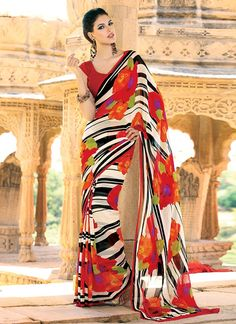 Opulent #Multicolored Pure #Georgette #Saree