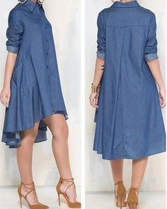 A line Hem denim Long Denim Dress, Long Shirt Dress, Denim Shirt Dress, Denim Jeans, Simple Dresses, Casual Dresses, Fashion Dresses, Denim Dresses, Casual Outfits