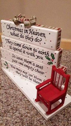 Own this beautiful handmade Christmas in Heaven poem table top display. Use it as decor or your centerpiece on your Holiday dinner table. it is all diy christmas gifts, christmas gifts cricut, friends christmas gifts Christmas In Heaven Poem, Noel Christmas, All Things Christmas, Winter Christmas, Christmas Chair, Christmas Signs, Christmas Place Setting, Christmas Displays, Outdoor Christmas