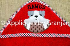 Personalized Appliqued Hooded Baby Bath Towel With UGA Inspired Bulldog with Football - pinned by pin4etsy.com