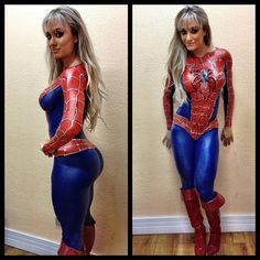 Amazing Spidergirl costume.Although I'm 95% certain she's partially naked. Almost.