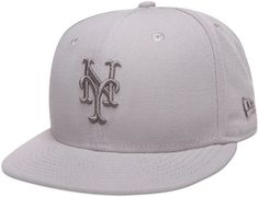 Custom New York Mets Tonal Pop Grey 59Fifty Fitted Baseball Cap by NEW ERA x MLB