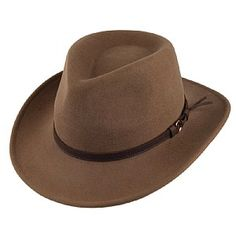 efc88819744 Olney Hats Crushable Wool Outback Hat - Pecan