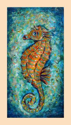"""Seahorse Mosaic"" is a fun little painting with a touch of jewel tones. I was interested in taking many layers of small brush strokes with a rainbow of colors and having an impressionistic look. It is a gallery wrap that is 10x20""."