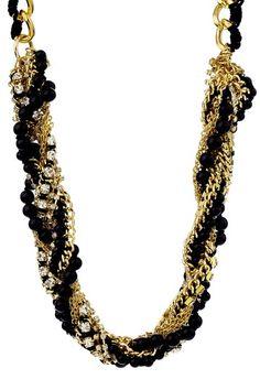 Pretty Baubles Black & Gold Necklace