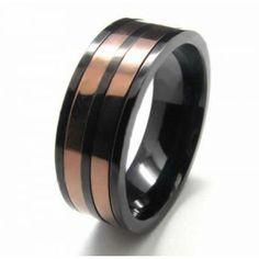 8mm Titanium Two Circles Inlaid Court Band Ring