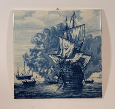 "1960s Delft Blauw Willem van de Velde Ship - ""The Cannon Shot"" Painting c.1670 https://treasurevalleyantiques.com/products/1960s-delft-blauw-willem-van-de-velde-ship-the-cannon-shot-painting-c-1670 #NavalBattles #Navy #Battles #Ships #Sailboats #17thCentury #DelftBlauw #Holland #Dutch #Nautical #Handpainted #Art #1960s #60s #WillemvandeVelde #Rijksmuseum #Amsterdam #Delfts"