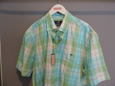Vineyard Vines Whistler Plaid Flats Blue Button Front Whale Shirt SZ XL NWT    #VineyardVines #ButtonFront