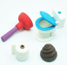 WACKY erasers collectible rubber PUZZLE eraser toilet.... Can you believe I have this??