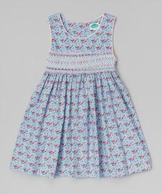 Blue Lobster Smocked A-Line Dress
