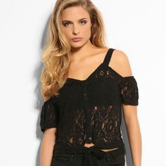 """✨NWT✨ GUESS Leila Top NWT/No flaws. Gorgeous lace top from GUESS that I never had a chance to wear. Price tag still attached. This is super cute to wear a bralette with. L: about 19 1/2"""" -52% POLYAMIDE -48% RAYON  Pet friendly home Feel free to ask any questions! Bundle 2+ items for additional 10% off Guess Tops Blouses"""