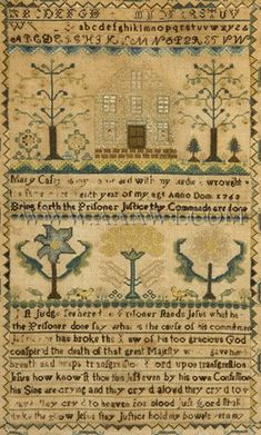 Antique Needlework, Sampler by Mary Casey, Circa 1763, close up view