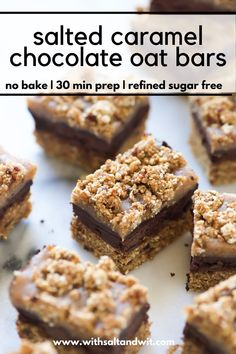 This easy no bake dessert is make with 9 wholesome ingredients and under 150 calories a serving! It has a 3 ingredient vegan caramel sauce a fudge layer and oatmeal crumble. This is the perfect healthy summer dessert! No Bake Chocolate Desserts, Chocolate Oats, Salted Caramel Chocolate, Easy No Bake Desserts, Chocolate Caramels, Healthy Dessert Recipes, Vegan Desserts, Chocolate Recipes, Delicious Desserts