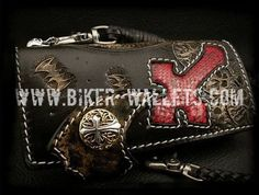 """Holy Batman"" in Black 8"" Custom Handmade Hand Tooled Snake Skin and Leather Men's Biker Wallet"