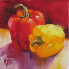 """Daily+Paintworks+-+""""Pair+of+Peppers""""+-+Original+Fine+Art+for+Sale+-+©+Mary++Van+Deman"""