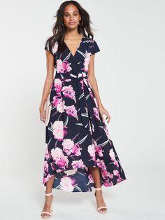 AX Paris Floral Dip Hem Dress - Navy   littlewoodsireland.ie Paris Dresses, Day Dresses, Dress Outfits, Watermelon Dress, Flowy Skirt, Occasion Wear, Green Dress, Trendy Outfits, Hemline