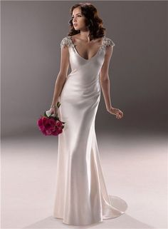 A-Sexy-Sheath-Deep-V-Neck-Cap-Sleeve-Backless-Ivory-Satin-Wedding-Dress