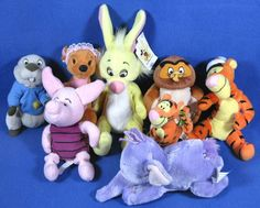 Disney Winnie the Pooh Lot Of 8 Plush Characters Rabbit Tigger Piglet Lumpy Owl #Disney
