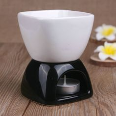 Black And White Incense Burner Fashion Ceramic Aromatherapy Furnace Candle Lamp Water Bowl Essential Candle Fragrance Oil…