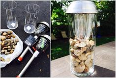 Modern solar light lamp for deck or backyard. Glass and river rock are from the. - идеи для сада - Modern solar light lamp for deck or backyard. Glass and river rock are from the dollar store, solar - Diy Solar, Solar Light Crafts, Solar Deck Lights, Patio String Lights, Garden Ideas Diy Cheap, Diy Garden Decor, Backyard Lighting, Outdoor Lighting, Lighting Ideas