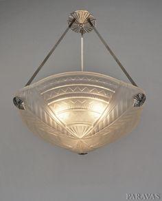 NOVERDY : 1930 French art deco chandelier (paravas-ebay)
