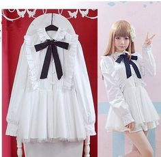 "Color:white. Size:free size. Length:68cm/36.52"". Bust:88cm/34.32"". Cuff:28cm/10.92"". Waist:78cm/30.42"". Sleeve length:58cm/22.62"". Shoulder:38cm/14.82"". Fabric material:cotton. Tips: *Please double ch"