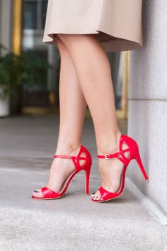 Red strappy heels an