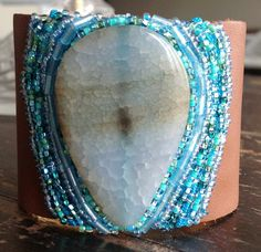 Colors of the sea beaded cuff bracelet cognac by LeTrendBijoux, $60.00