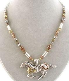Silver horse charm pendants 2 pc equine western party favors neck horsetritoneg 343400 horse jewelrywestern aloadofball Choice Image