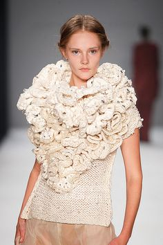 Sculptural Knitwear - chunky, structured knits with 3D texture detail; knitted couture // Dawid Tomaszewski