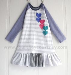 hearts! #courtneycourtney #eco #upcycled #recycled #repurposed #tshirt #vintage #dress #girls #unique #clothing #ooak #designer #upscale #gray #hearts