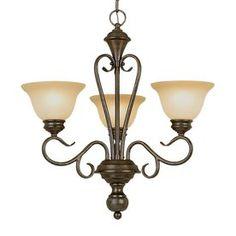 Over kitchin table: Millennium Lighting Devonshire 3-Light Burnished Gold Chandelier