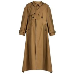 Balenciaga Double-breasted cotton-gabardine trench coat (¥380,315) ❤ liked on Polyvore featuring outerwear, coats, camel, cotton coat, camel coat, double breasted trench coat, balenciaga coat and asymmetrical trench coat