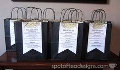 #Wedding Hotel Welcome Bags - fill with candy, water and other goodies for your guests with any inportant information (directions, shuttle times, brunch) on the outside