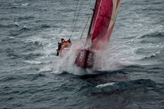 CAMPER with Emirates Team New Zealand, skippered by Chris Nicholson from Australia, heading in to tough seas, at the start of leg 5 from Auckland, New Zealand to Itajai, Brazil, during the Volvo Ocean Race 2011-12.