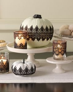 Add Elegance with Lace - Infuse your home with instant sophistication by adding black lace to your holiday décor.