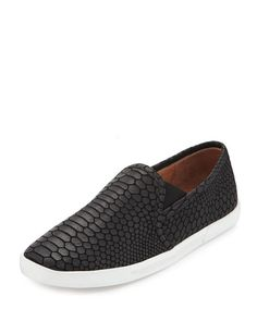 Kidmore Embossed Leather Sneaker, Black