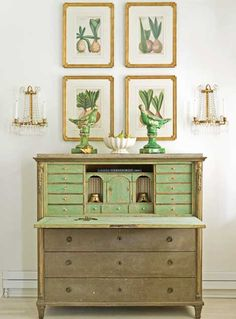 Antique green secretary with green botanicals