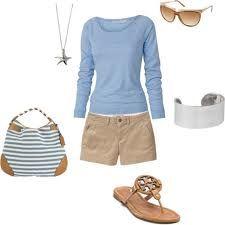 Khaki shorts, baby blue l/s, brown sandals.