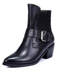 Купить товар Новый подлинный кожаные сапоги для женская обувь мотоцикла  квартиры черные высокое качество мода ботильоны 21fa9ea4cc7