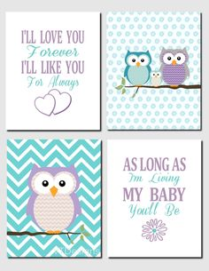Purple Teal Aqua Owl Nursery Art Kids Wall Art Brooklyn Nursery Girls Room I'll Love You Forever Baby Girl Room Set of 4, Art Prints by vtdesigns on Etsy