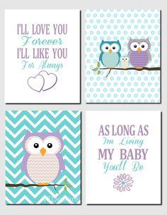 Purple Teal Aqua Owl Nursery Art Kids Wall Art Brooklyn Nursery Girls Room I'll Love You Forever Baby Girl Room Set of 4, Art Prints by vtdesigns on Etsy
